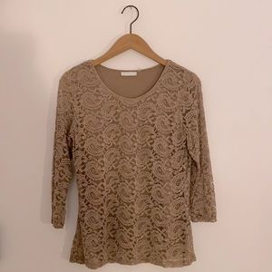 3/$20 Brown Lace Cropped Sleeve Top